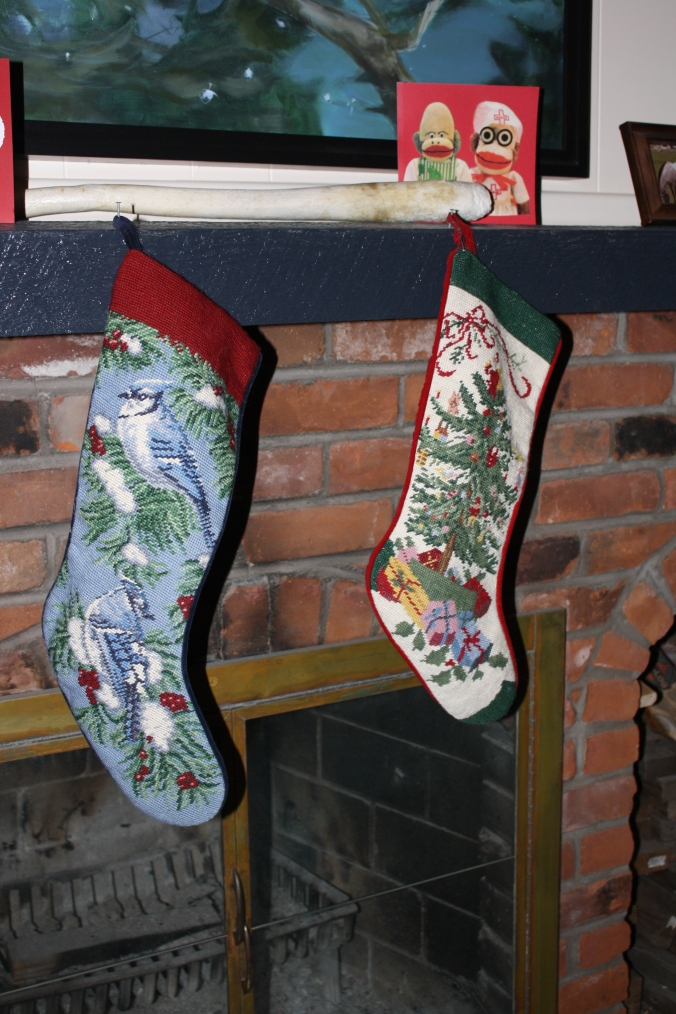 Stockings up since Christmas Eve AND Valentine's Day card up since 2012 or so.