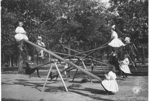 (This teeter-totter from a long-ago Minneapolis park is much higher than ours today.)