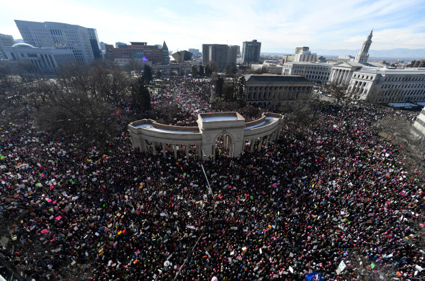 DENVER, CO - January 21: Tens of thousands in Civic Center Park for the Women's March on Denver January 21, 2017. (Photo by Andy Cross/The Denver Post)